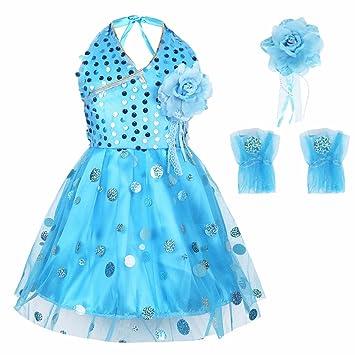 TiaoBug Kids Girls Halter-neck Shiny Sequins Ballet Dance Tutu Dress  Costumes with Flower Brooches 866c944fa6b8