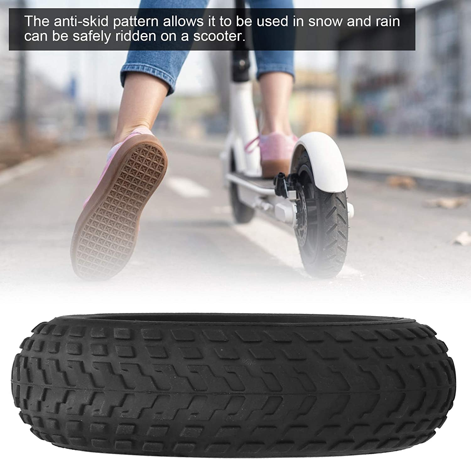 Gancon 6 inch Electric Scooter Explosion‑proof Wheel,Anti‑Skid Solid Tire Aluminum Alloy Wheel Hub Replacement for Electric Scooters