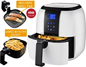 Ovente FAD61302W Digital Air Fryer, 3.2qt, White