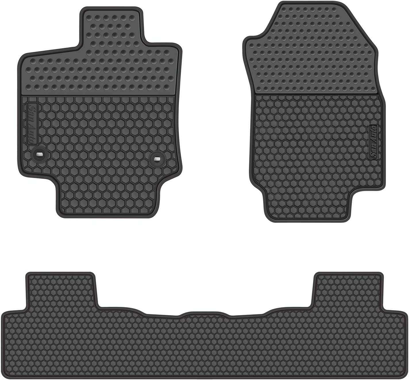 San Auto Car Floor Mats Compatible with Lexus ES 2019 2020 Custom Fit Full Black Rubber Car Floor Liners Set All Weather Protection Heavy Duty Odorless