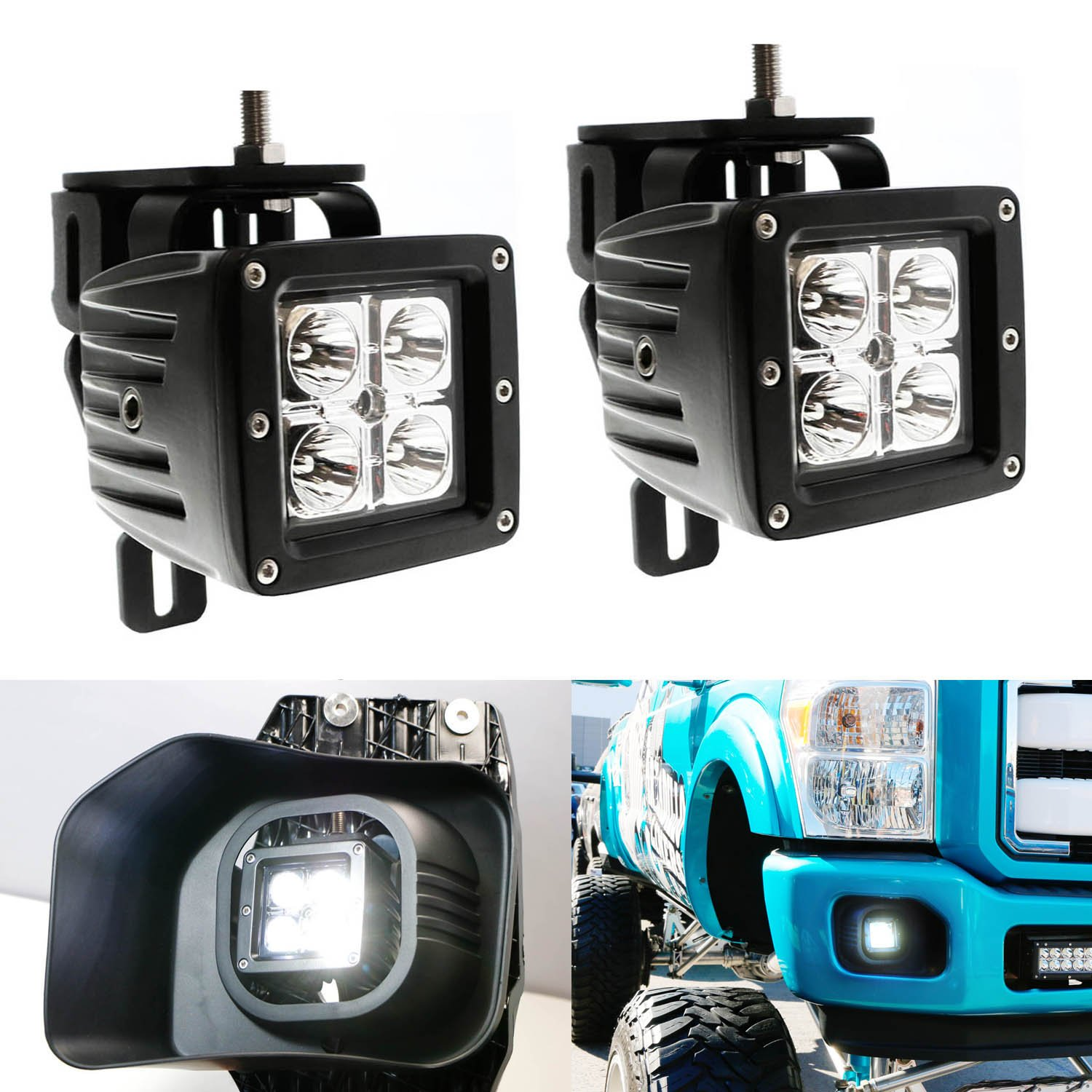 iJDMTOY Complete 40W High Power CREE LED Fog Light Kit w/ Fog Lamp Location Mounting Brackets For 1999-2016 Ford F-250 F-350 F-450 Super Duty