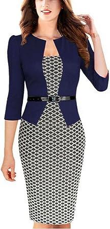 Viwenn Women Elegant Colorblock Long Sleeve V Neck Business Party Dress