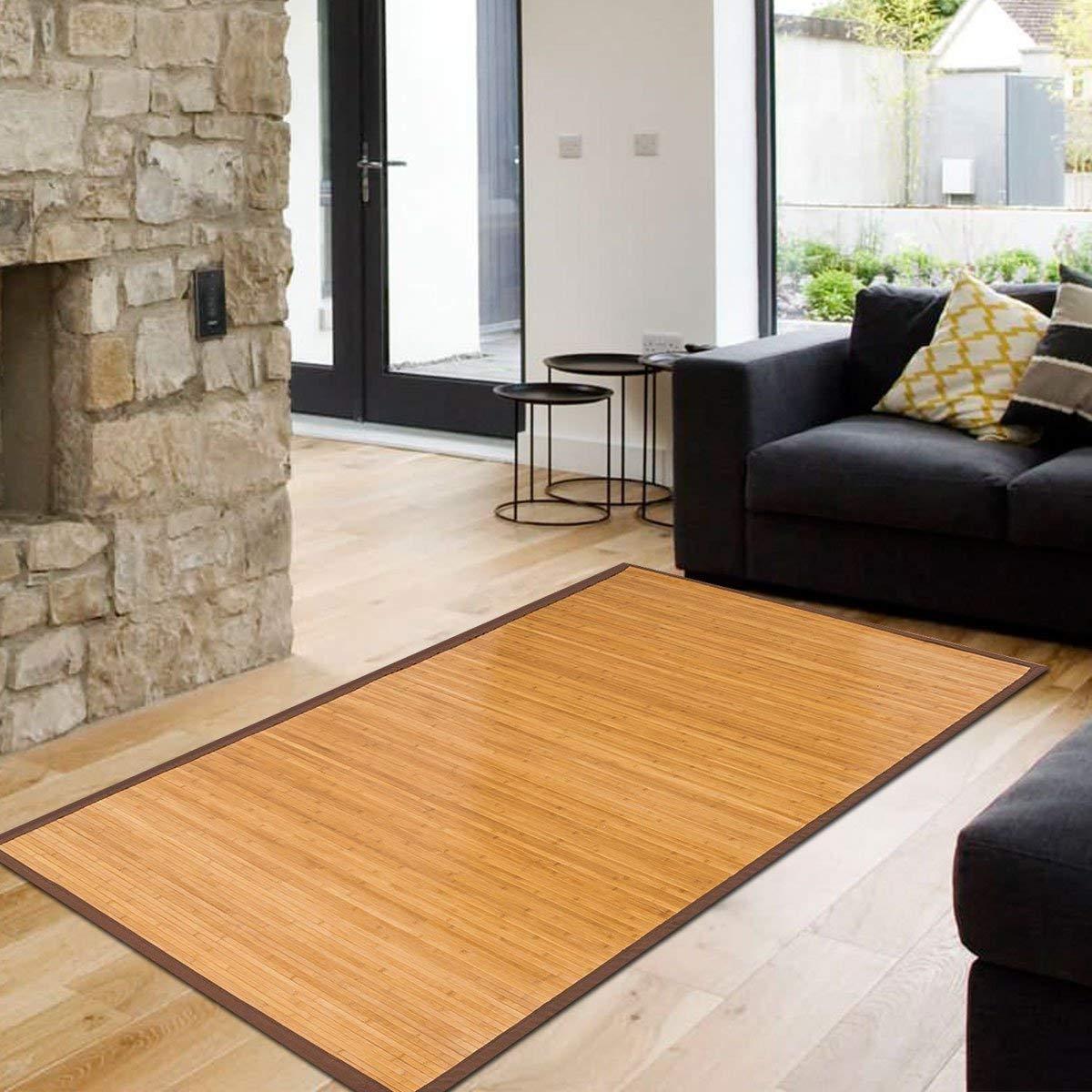 5' X 8' Floor Carpet, Bamboo Area Rug Floor Carpet Natural Bamboo Non-Slip Roll Runner Indoor Outdoor for Bathroom, Kitchen, Garden
