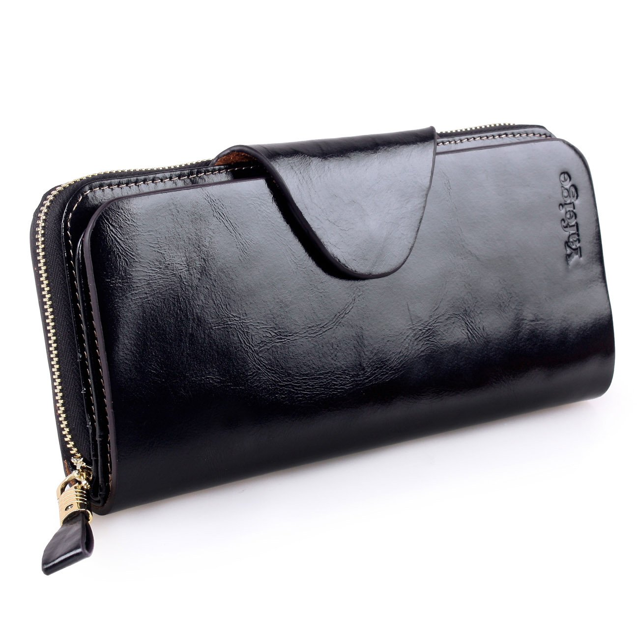 Yafeige Large Luxury Women's RFID Blocking Tri-fold Leather Wallet Zipper Ladies Clutch Purse(1-Waxed Black) by Yafeige