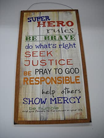 Super Hero Rules Boys Bedroom Inspirational Wooden Wall Art Sign Be Brave  Do Whats Right Seek