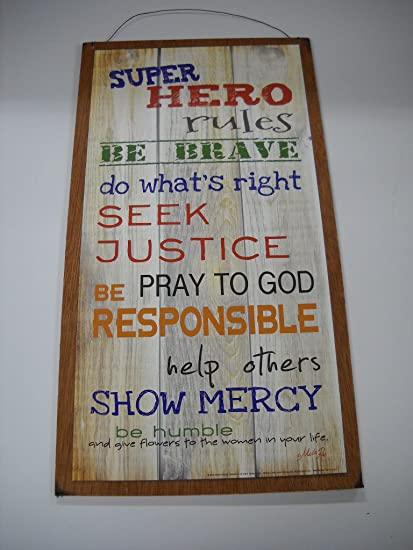 Amazon.com: Super Hero Rules Boys Bedroom Inspirational Wooden Wall ...