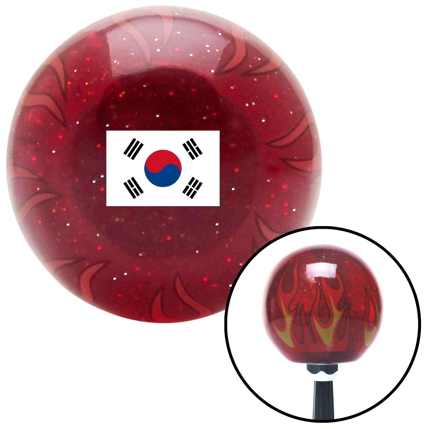 American Shifter 310219 Shift Knob South Korea Red Flame Metal Flake with M16 x 1.5 Insert