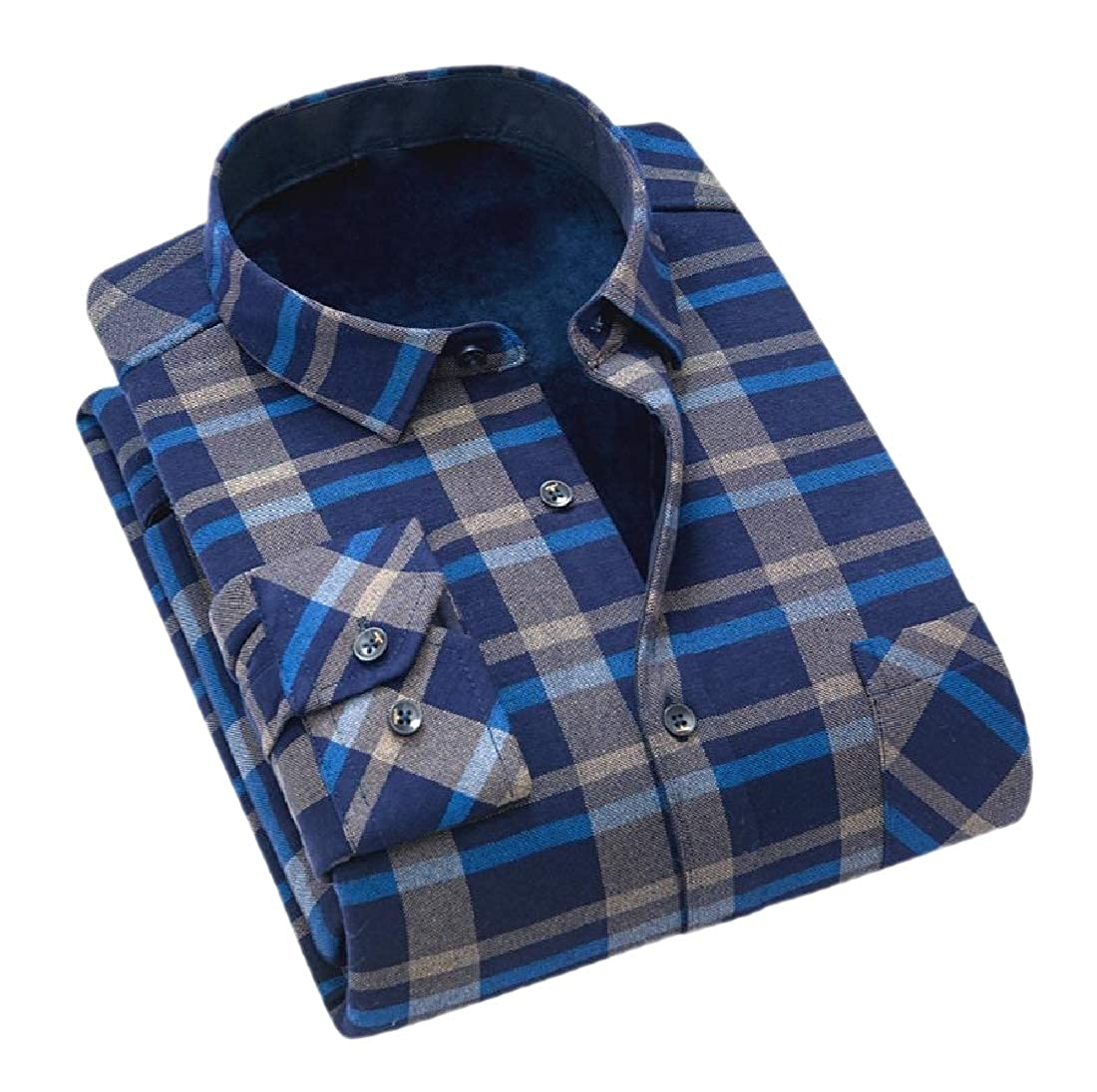 Fieer Mens Thickened Tops Plus Velvet Grid Loose Fit Dress Shirts