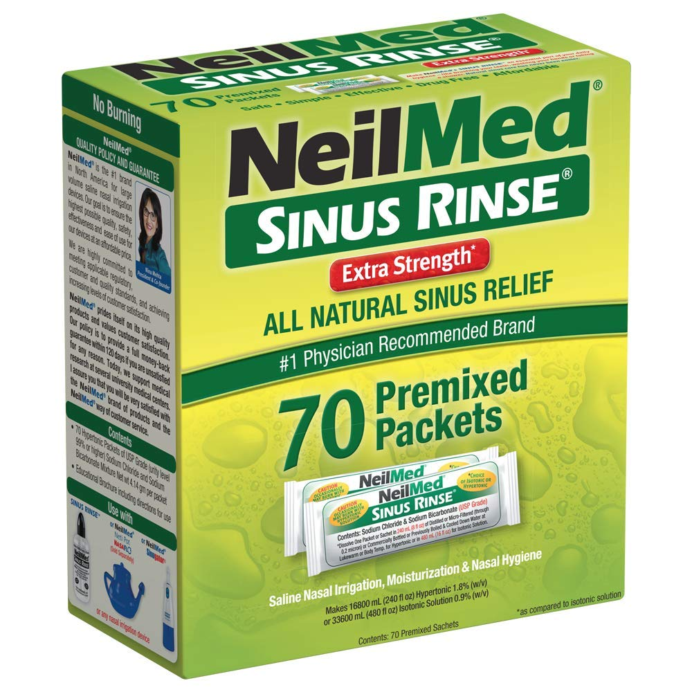 NeilMed's Sinus Rinse Extra Strength Pre-Mixed Hypertonic Packets, 70 Count Box