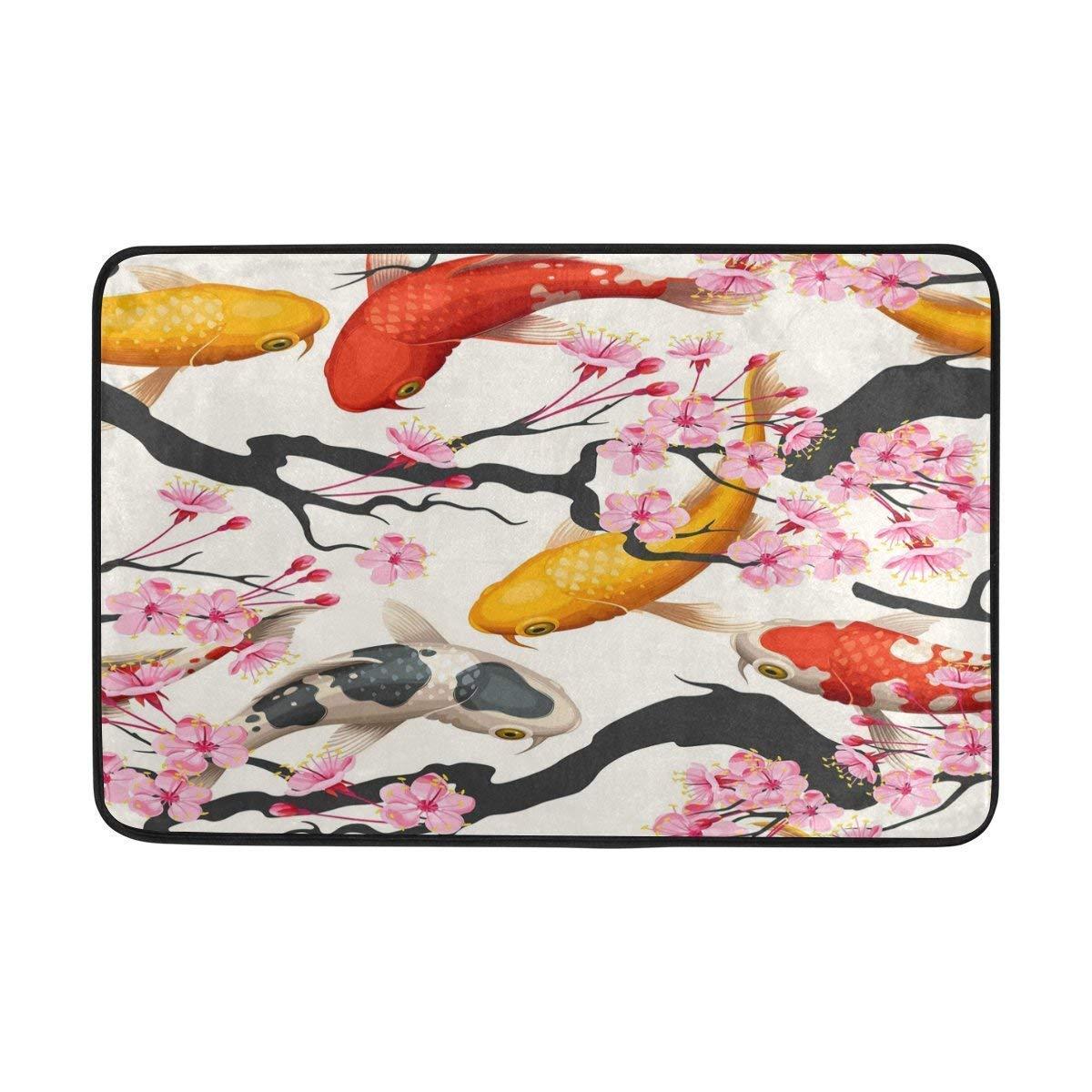 Yuerb Felpudos Japanese Koi Fish Sakura Doormat Indoor Outdoor Mat Non Slip Polyester for Door Kitchen Bedroom Garden,15.7''x23.6''