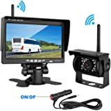 """LeeKooLuu Wireless Backup Camera and 7"""" Monitor Kit For RV/5th Wheel/Truck/Motorhome/Trailers/Campers Built-in Wireless Rear View Camera Monitor System Guide Line Optional IP69 Waterproof Night Vision"""