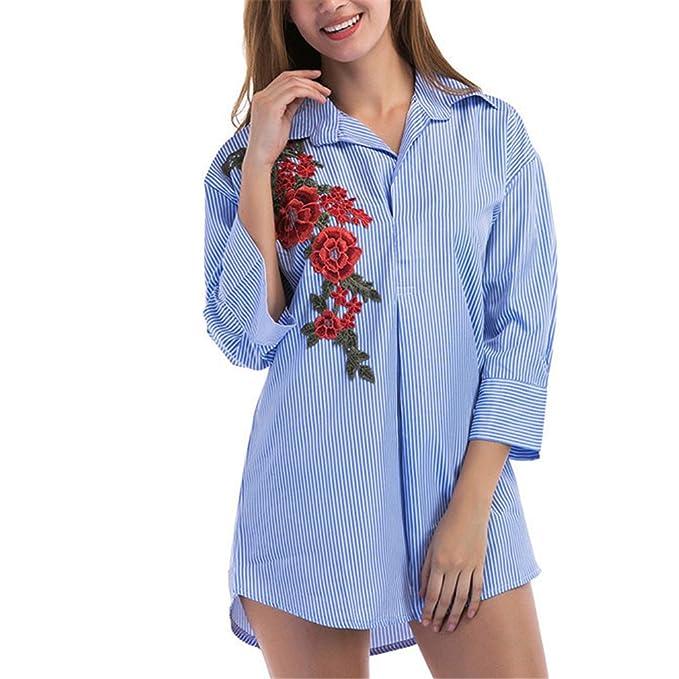 Camisa Bordada Floral Azul de Las Rayas Blusas de Las Mujeres Solapa Ocasional Tops Femeninos Blusa de la Vendimia de la Manga 3/4: Amazon.es: Ropa y ...