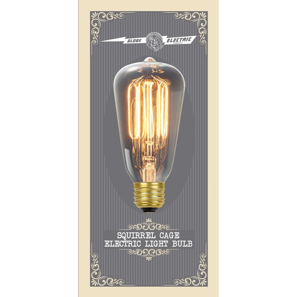 globe electric 60w vintage edison s60 squirrel cage filament light bulb e26 base 245 lumens amazoncom