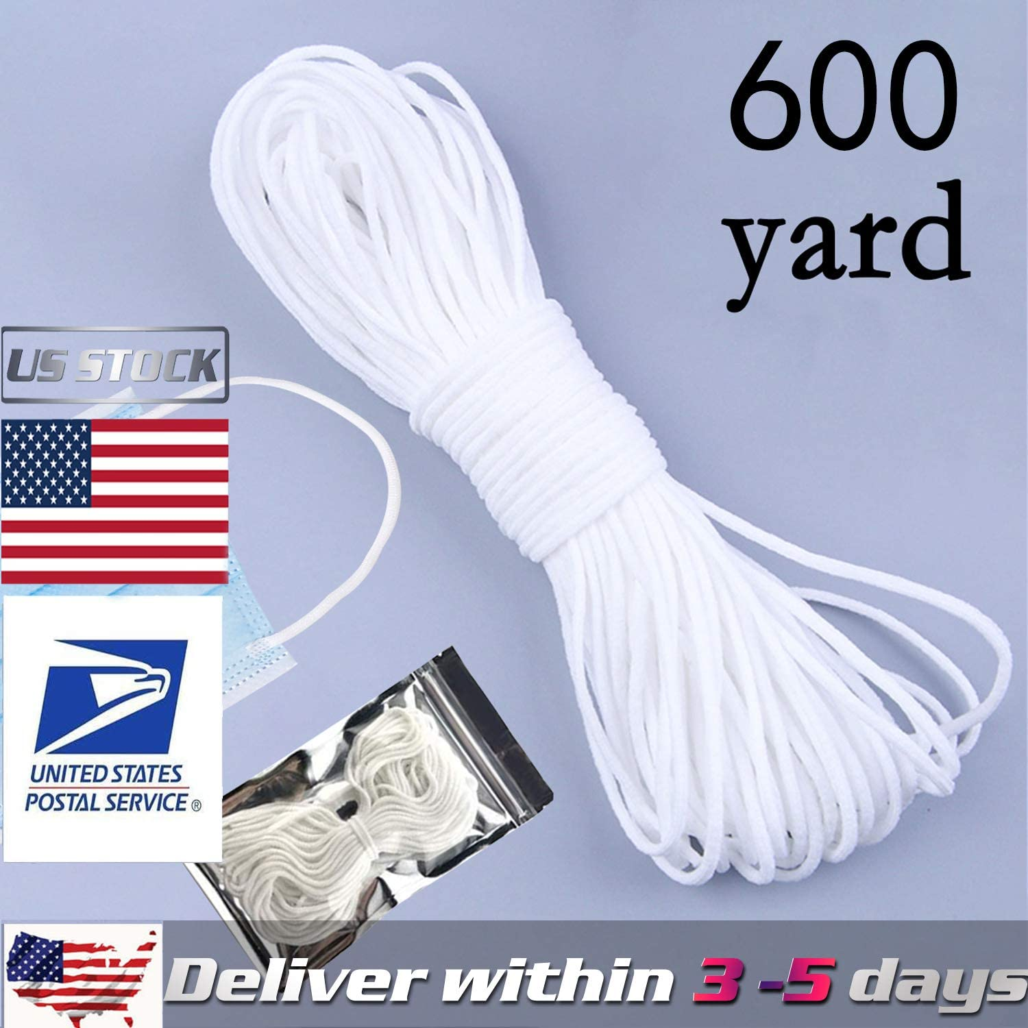 80 Yard Elastic Strap White Earloop Cord 1//8-Inch 3mm Stretchy Ear Tie Rope Handmade String for Sewing