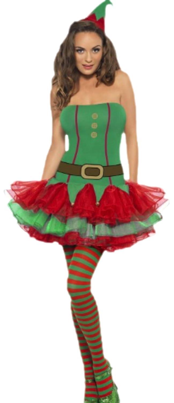 Fancy Ole - Damen Frauen Weihnachtselfen Weihnachtselfen Weihnachtselfen Kostüm kurzes Kleid und Hut Mütze, XS, Grün Rot 8cde76