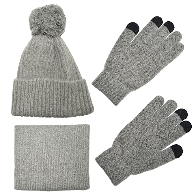 ca1d3921e3c389 Knit Scarf/Hat/Gloves Set, Soft Warm Beanie, Touch Screen for Families