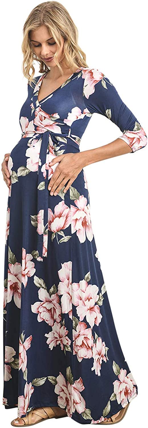 HELLO MIZ Women's Faux Wrap Maxi Maternity Dress with Belt - Made in USA at  Women's Clothing store