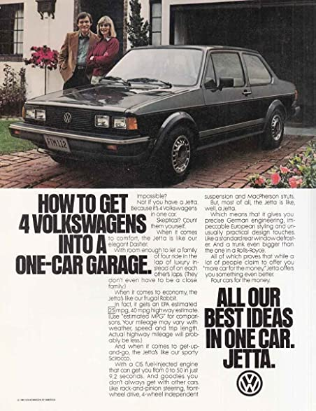 Amazon Com 1981 Volkswagen Jetta Into A One Car Garage Volkswagen