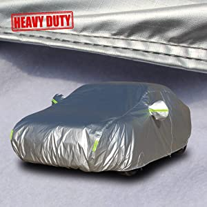 "Shieldo Heavy Duty Car Cover with Windproof Straps and Buckles 100% Waterproof All Season Weather-Proof Fit 160""-172"" Length Hatchback"
