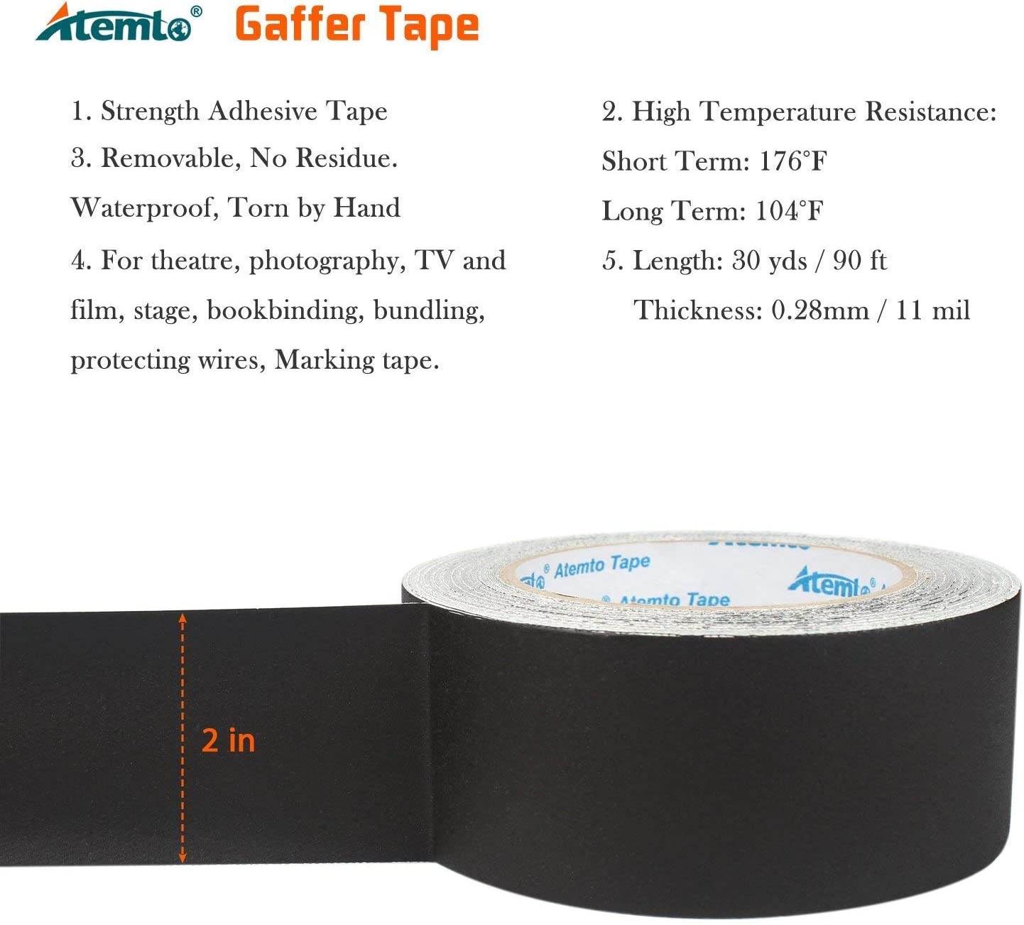 Atemto Gaffer Tape Black 2 inch /× 30 Yards Heavy Duty Non Reflective Adhesive Professional Gaffers Tape Easy to Tear Removable No Residue Better Duct Electrical Gaffers Stage Tape