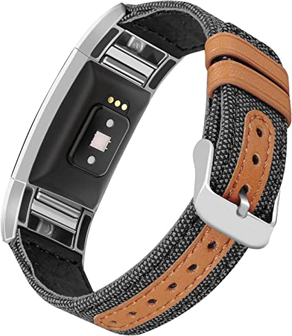 Fullmosa Compatible Fitbit Charge 2 Bands For Men Women Genuine Leather Band//Str
