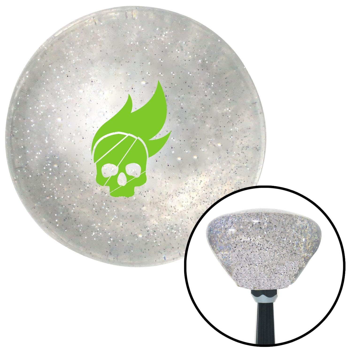 Green Skull Flame American Shifter 162998 Clear Retro Metal Flake Shift Knob with M16 x 1.5 Insert