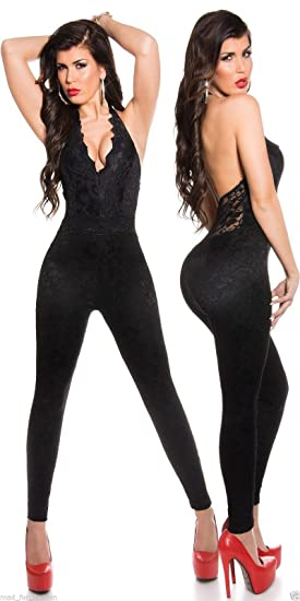 4ca37c968128 Sexy Party KouCla Black Jumpsuit Overall all in Lace. UK 8.10.12.14.   Amazon.co.uk  Clothing
