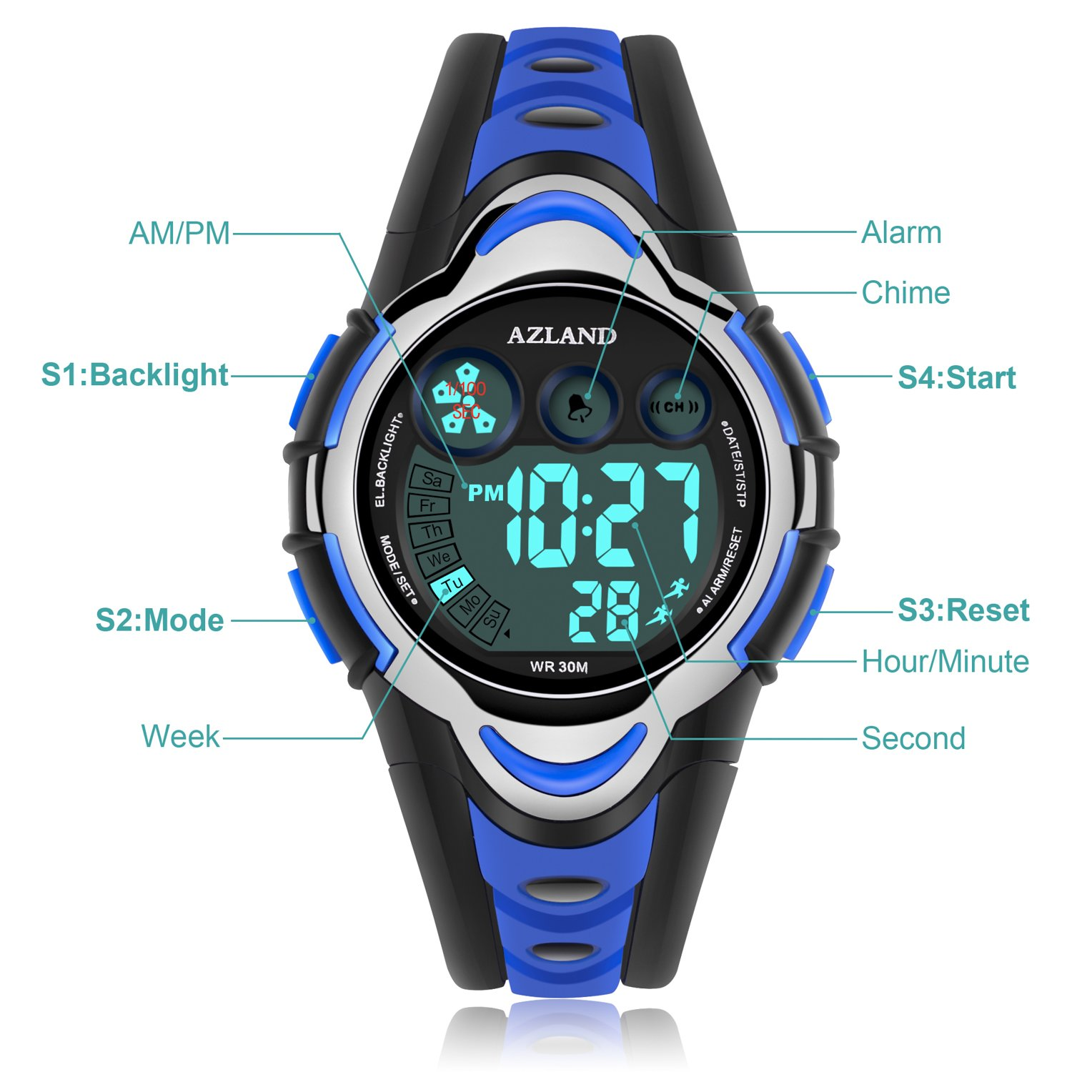 AZLAND Waterproof Swimming Led Digital Sports Watches for Children Kids Girls Boys,Rubber Strap,Blue by AZLAND (Image #6)