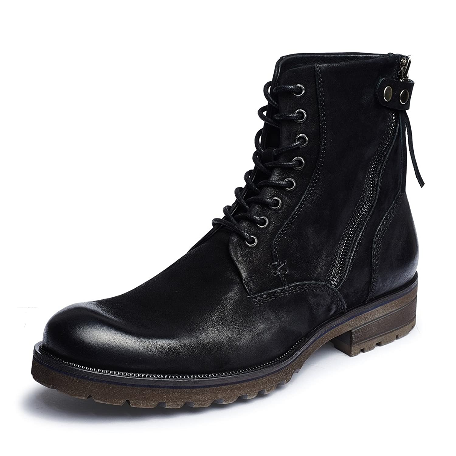 Aide Baou Men's Fashion Military Ranger Nubuck Leather Pull On Side Zip Ankle Boots