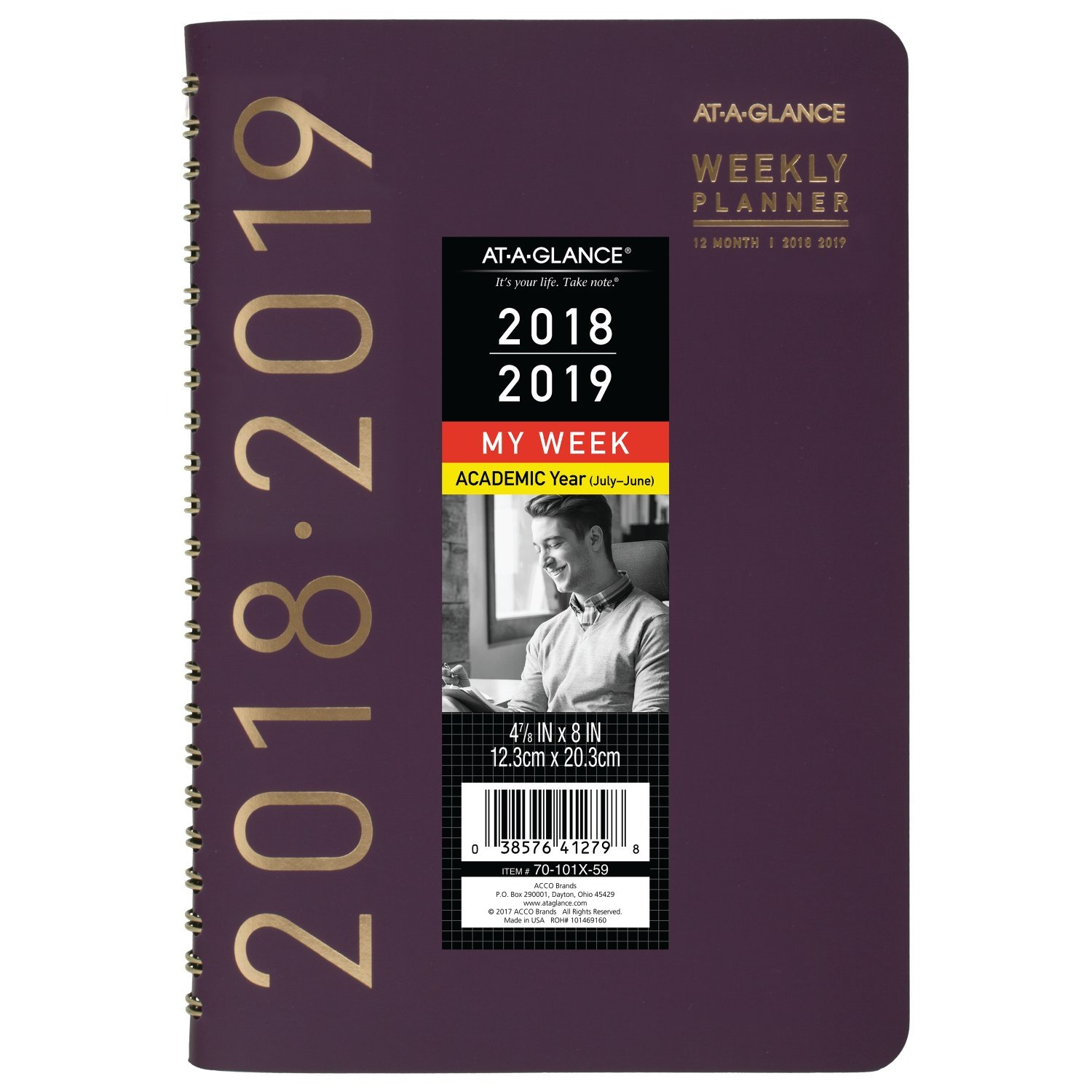 AT-A-GLANCE 2018-2019 Academic Year Weekly & Monthly Planner, Small, 4-7/8 x 8, Contemporary, Black (70101X05) ACCO Brands 70101X0519