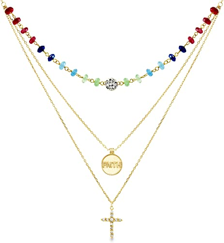 Gold Plated Jewelry Multi-color CZ Zircon Charm Pendant Necklace Christmas Gift