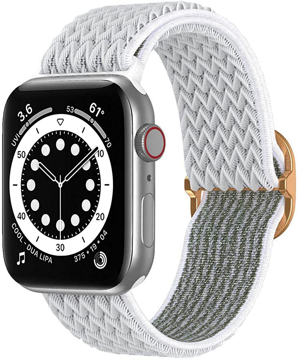 ZPIAR Stretchy Nylon Solo Loop Bands Compatible with Apple Watch 38mm 40mm 42mm 44mm, Adjustable Stretch Braided Sport Elastics Weave Nylon Women Men Strap Compatible with iWatch SE Series 6/5/4/3/2/1