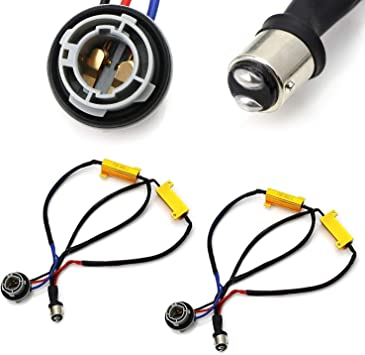 Hyper Flash Fix Error Free Wiring Adapters Compatible With 7440 992A T20 LED Turn Signal Light Bulbs iJDMTOY 2