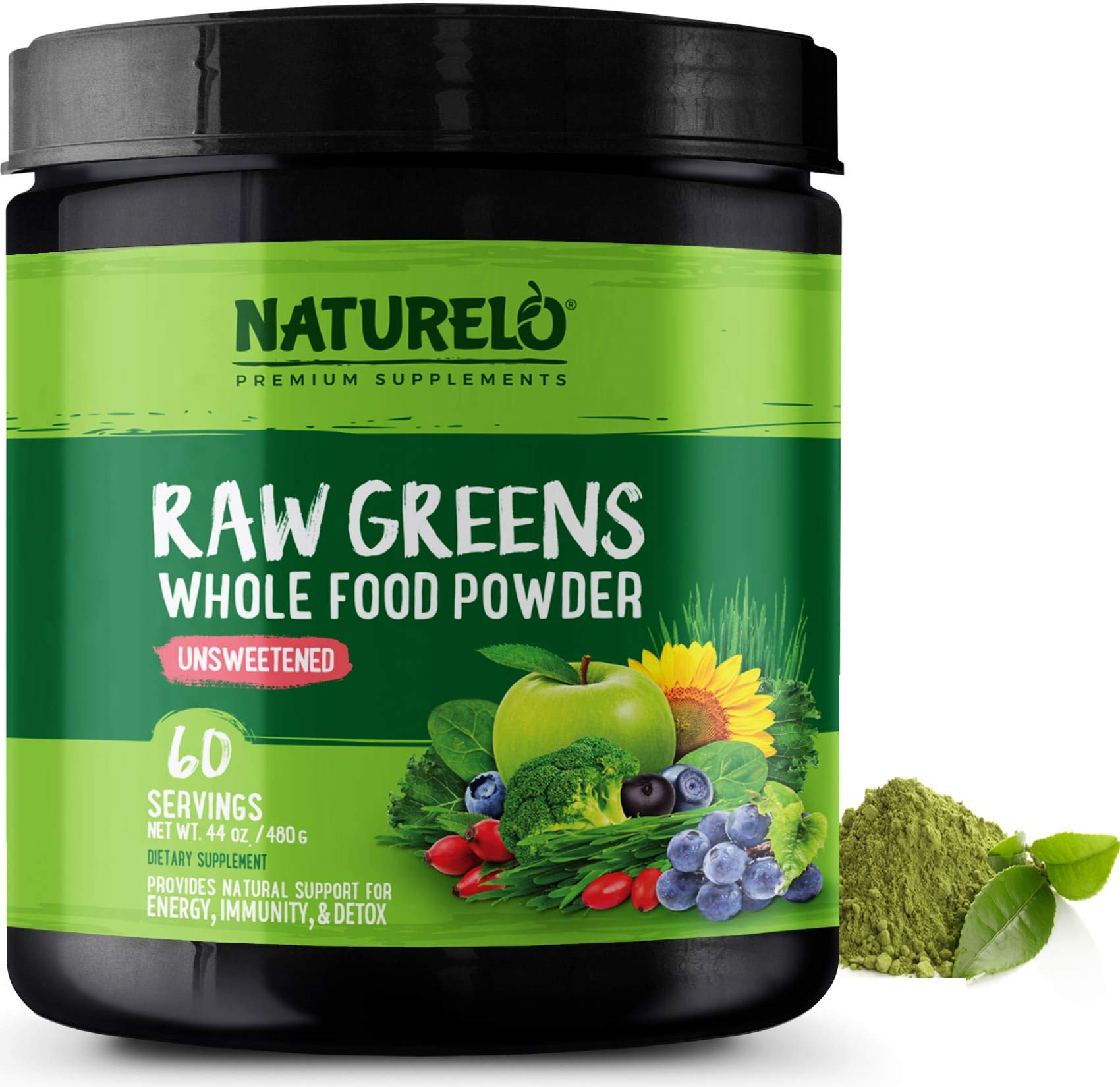 NATURELO Raw Greens Superfood Powder - Unsweetened - Boost Energy, Detox, Enhance Health - Organic Spirulina - Wheat Grass - Whole Food Vitamins from Fruit, Vegetable Extracts - 60 Servings by NATURELO