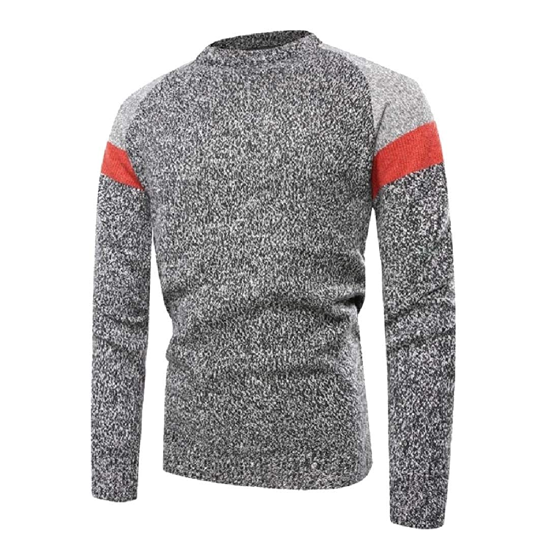Winwinus Men Pullover Blouse Knit Student Crew-Neck All-Match Sweater