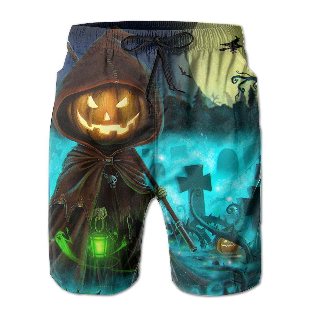 Mens Swim Trunks Happy Halloween Pumpkin Grim Reaper Quick Dry Beach Board Shorts with Mesh Lining