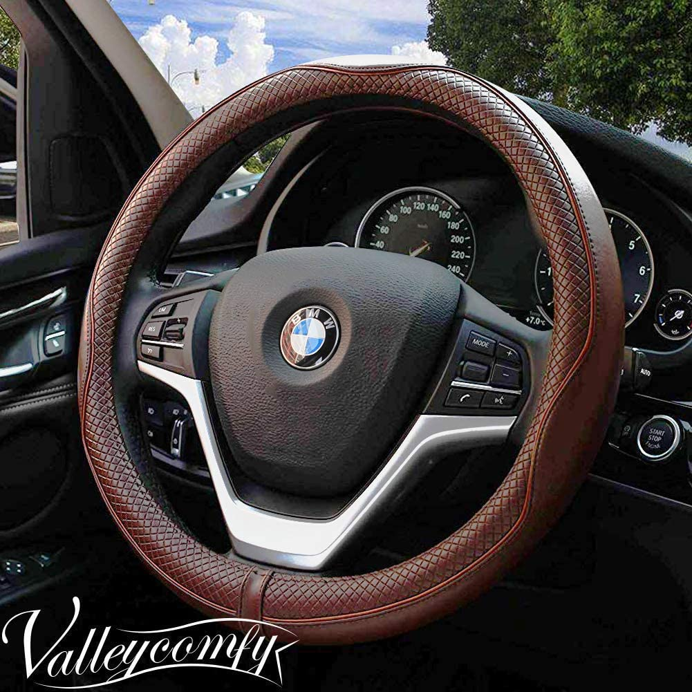 Valleycomfy Universal 15 inch Auto Car Steering Wheel Cover with Coffee Genuine Leather for HRV CRV Accord Corolla Prius Rav4 Tacoma Camry Escape Fusion Focus,etc.
