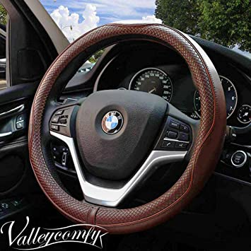 Valleycomfy Microfiber Leather Steering Wheel Covers Universal 15 inch Gray