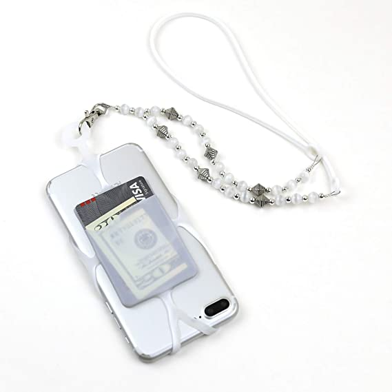 brand new 8602d ebd68 Gear Beast Cell Phone Lanyard, Universal Phone Case Holder with Card  Pocket, Decorative Bead Necklace Strap for iPhone, Galaxy, Note, Pixel,  Moto & ...
