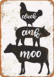 Nxsbns Cluck, Oink, Moo, Chicken, Pig, Cow Metal Tin Sign 12 X 8 Inches Vintage Wall Decor