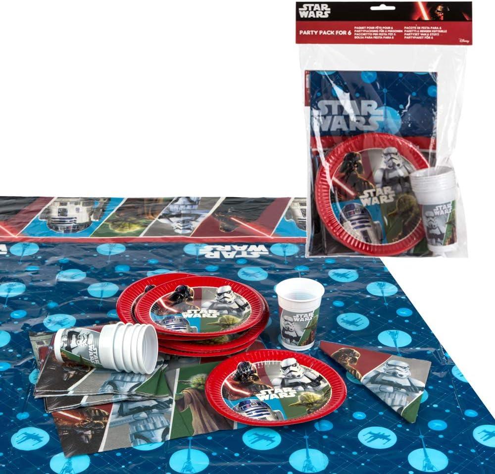Disney - Pack de fiesta reciclable Star Wars: mantel, platos, vasos, servilletas (71911)