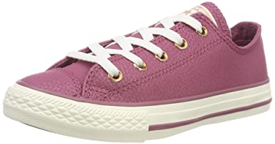 4d7d40f0cc1a Converse Kids Chuck Taylor All Star Ox Vintage Wine Egret Rose Gold  Basketball Shoe