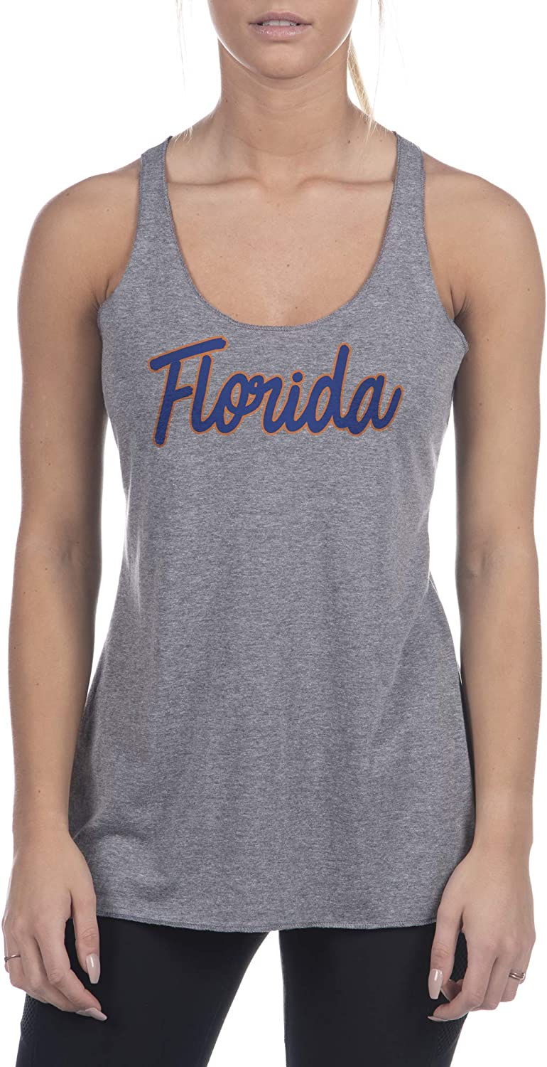 Top of the World Womens Trim Modern Fit Premium Triblend Racerback Dark Heather Script Tank Top