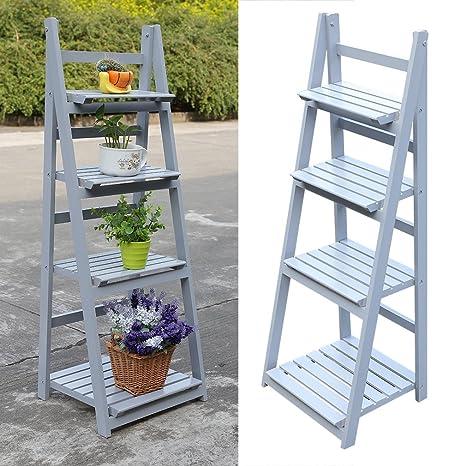 Estantería de escalera para flores de Homegrace, 4 niveles, de madera, plegable,