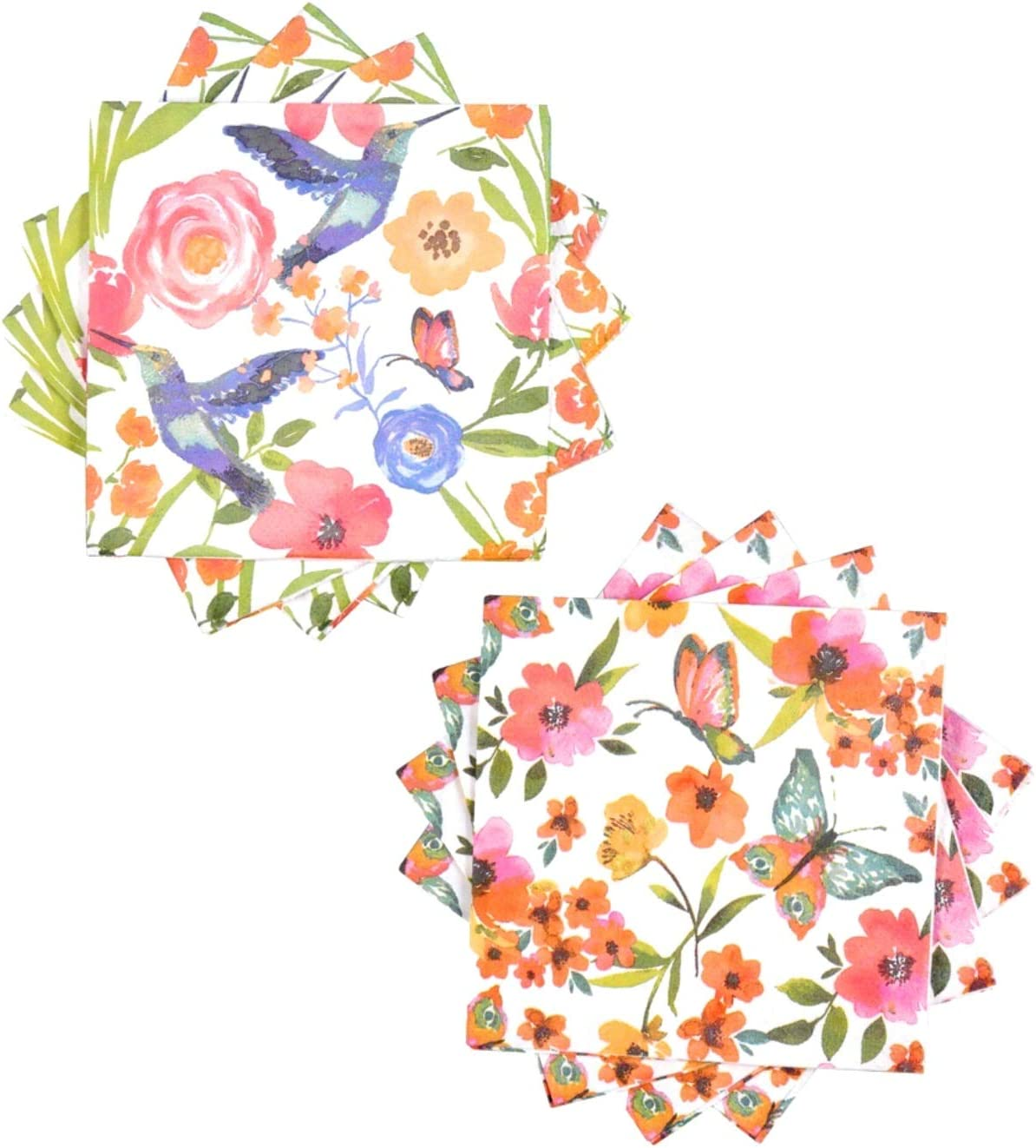 Spring Fling Butterflies & Hummingbirds Paper Beverage Napkins, 2 Designs (28-ct ea)