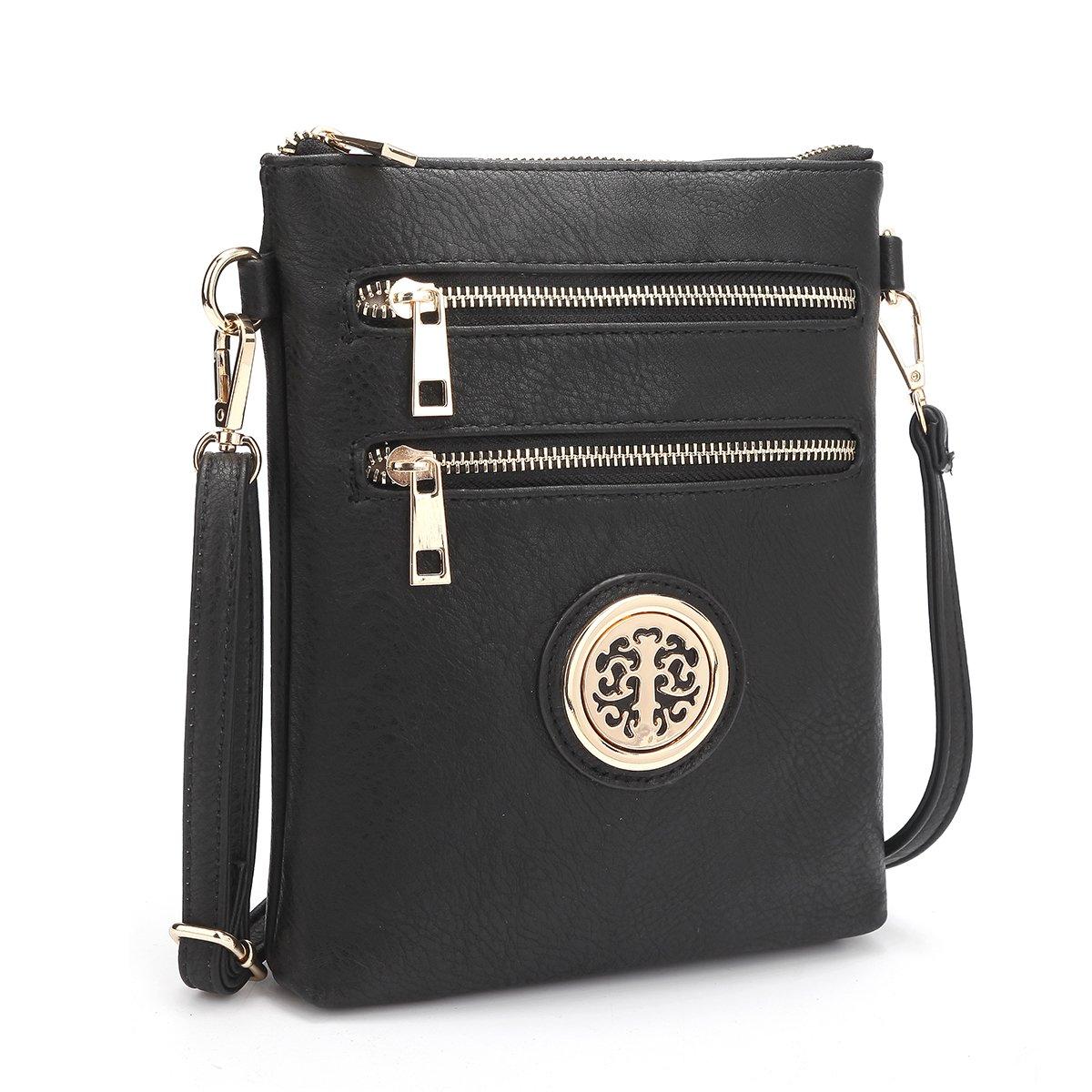 Dasein Small Crossbody Bag Multi Zipper Pockets Messenger Bag Lightweight Shoulder Bag Functional Purse