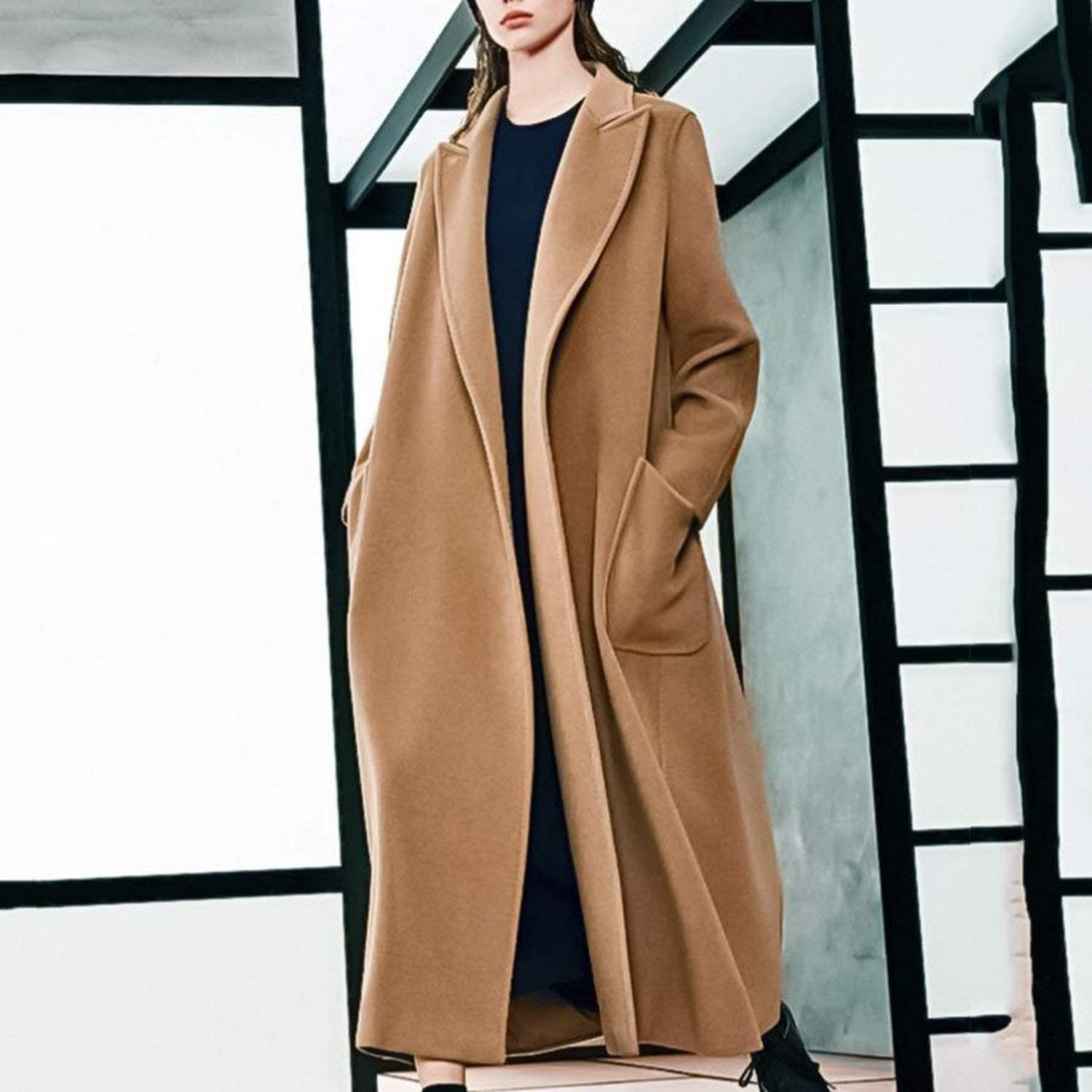 Women/'s Loose Fit Single-breasted Stitching Wool Blend Long Solid Cashmere Coat