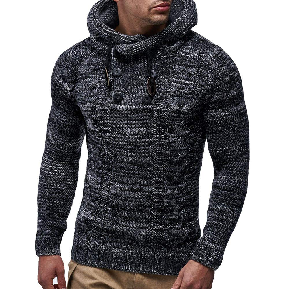 haoricu Autumn Winter Men's Pullover Knitted Sweater Cardigan Coat Long Sleeve Hooded Sweatershirt