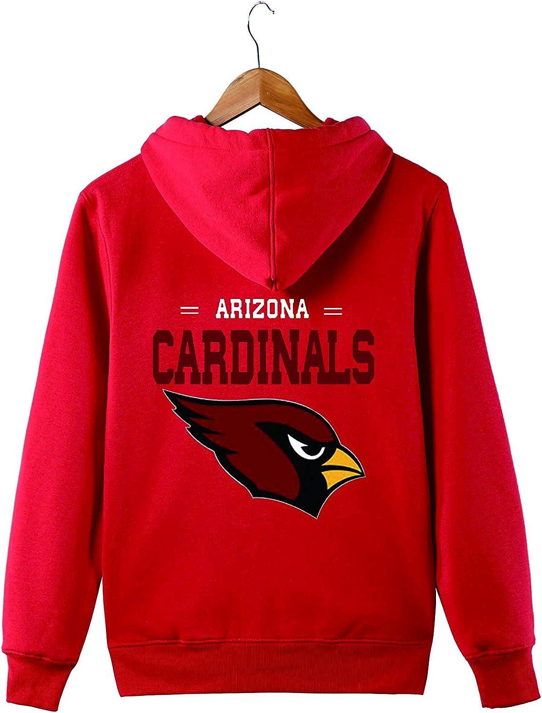 Mens Hooded Long Sleeve Letters Print Arizona Cardinals Team Solid Color Zipper Hoodies