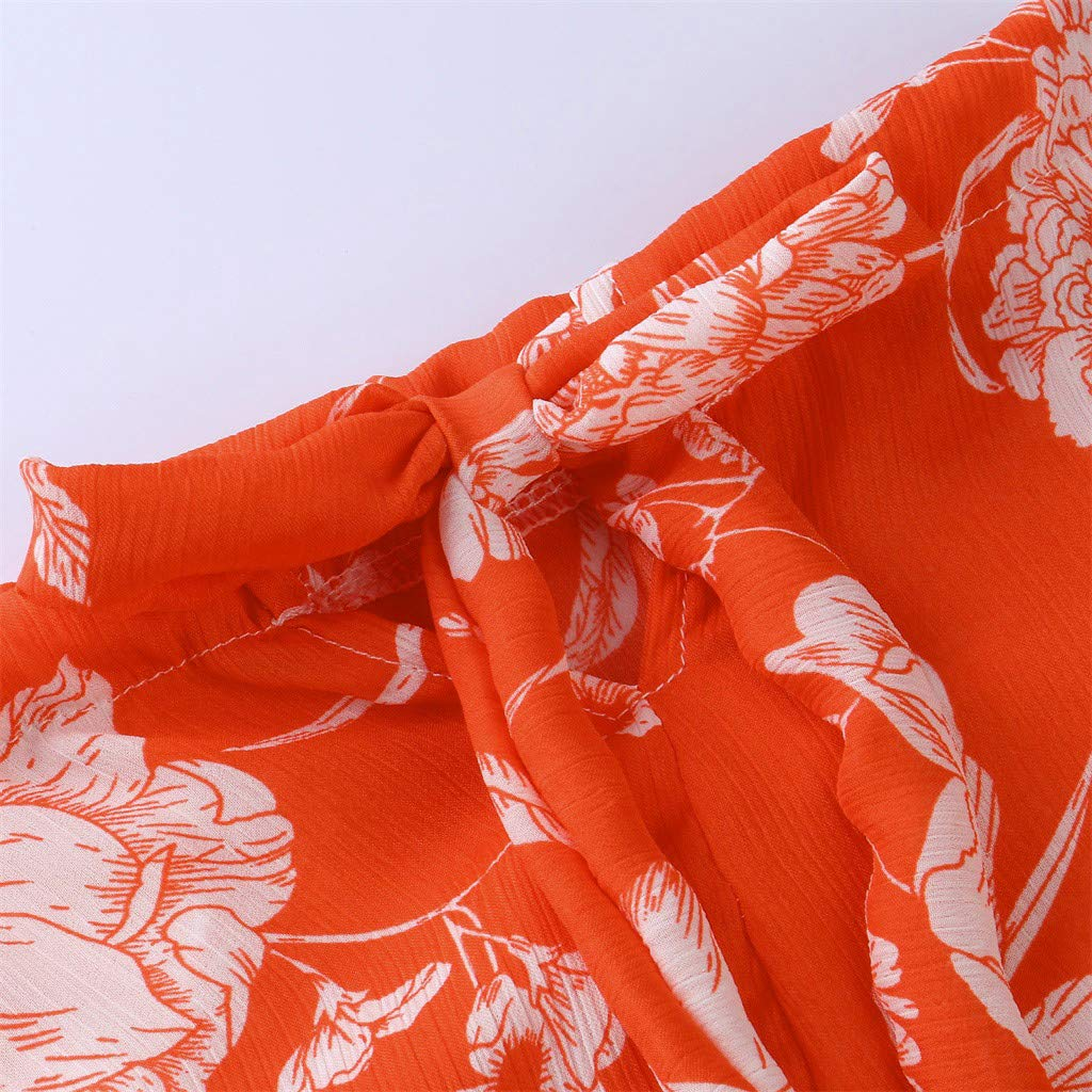 OTINICE Women Sleeveless Halter Strappy Floral Dress Summer Casual Mini Dress Sundress (XL, Z-Orange) by OTINICE (Image #5)